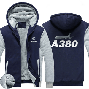 AIRZT HOODIES Blue / S Airbus A380 Zipper Sweaters