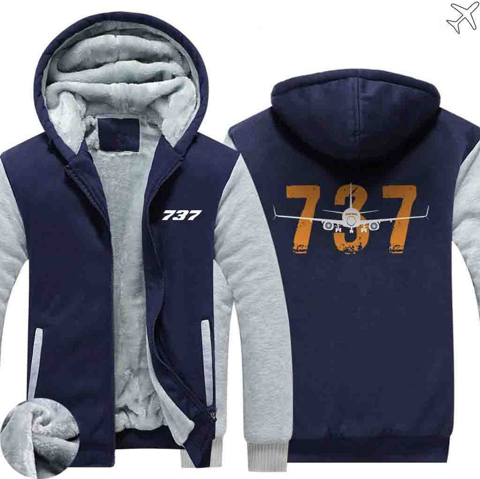 AIRZT HOODIES Blue / S Boeing 737 Zipper Sweaters