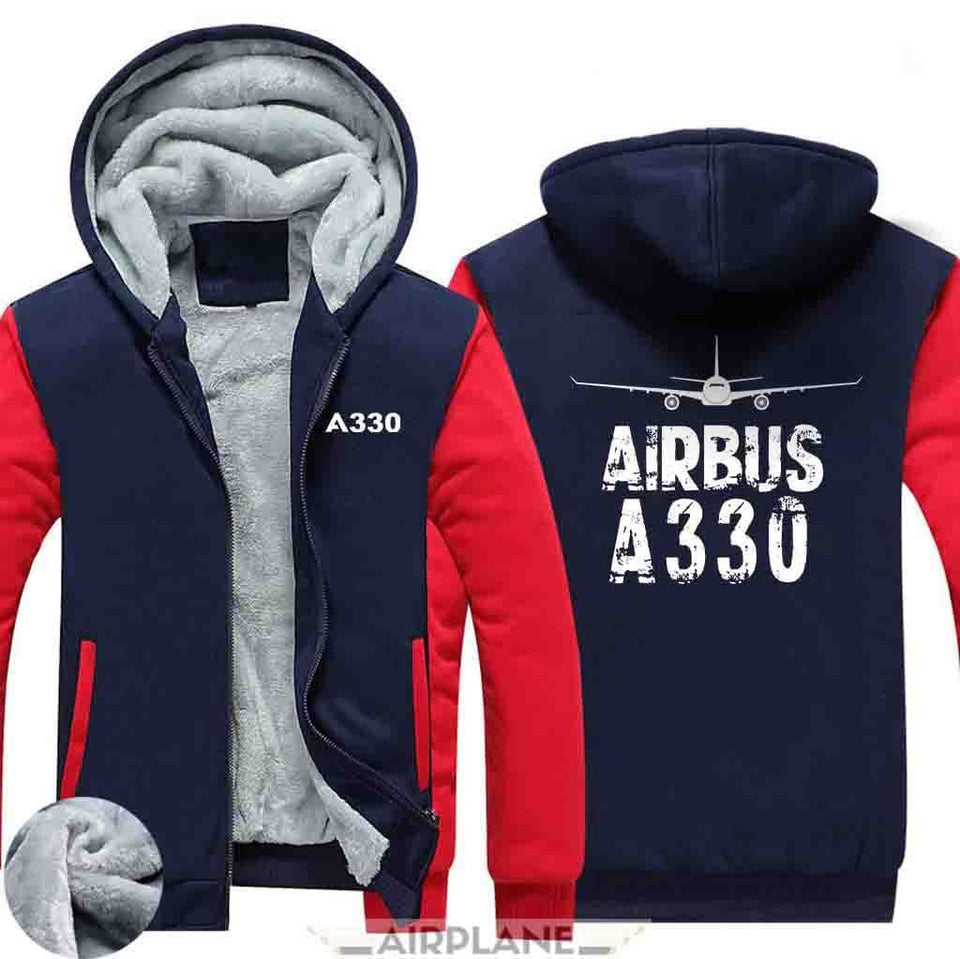 AIRZT HOODIES Red / S Airbus A330 Zipper Sweaters