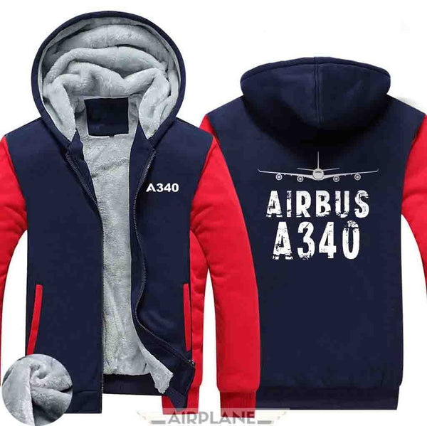 AIRZT HOODIES Black / S Airbus A340 Zipper Sweaters