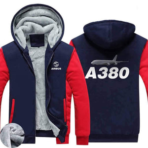 AIRZT HOODIES Red / S Airbus A380 Zipper Sweaters