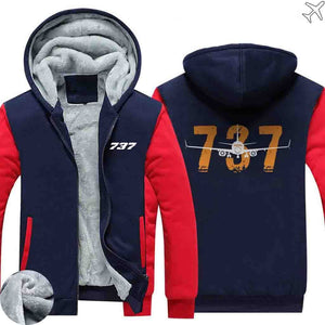 AIRZT HOODIES Red / S Boeing 737 Zipper Sweaters