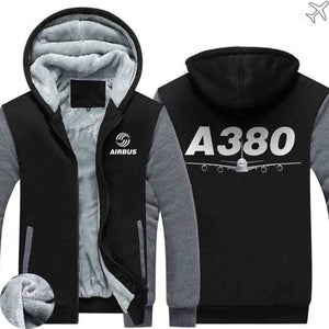 AIRZT sweatshirt Black Gray / S Airbus A380 Zipper Sweaters