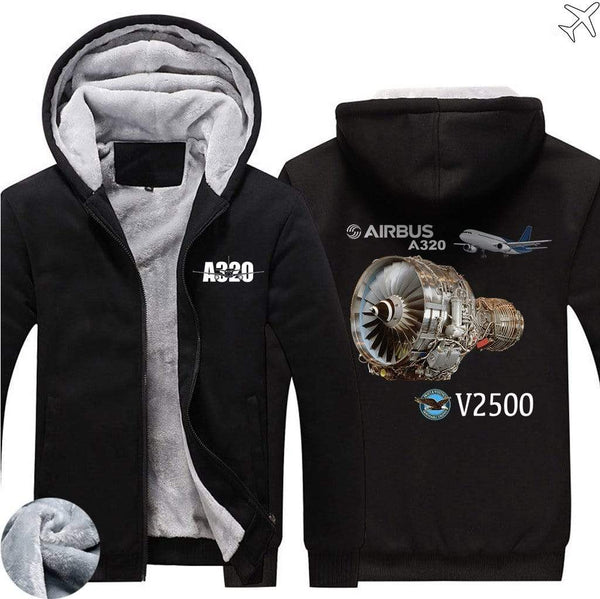 AIRZT sweatshirt Black / S Airbus A320 V2500 Zipper Sweaters