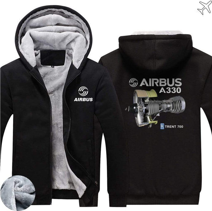 AIRZT sweatshirt Black / S Airbus A330 Zipper Sweaters