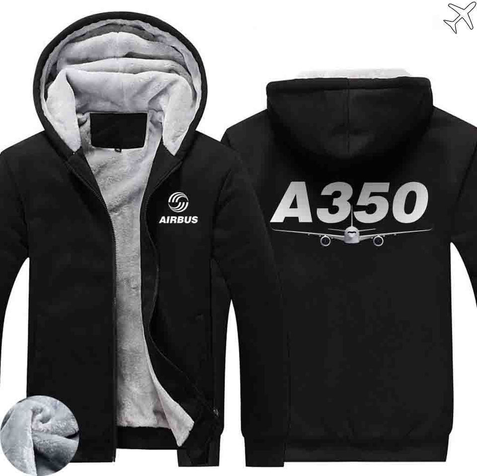 AIRZT sweatshirt Black / S Airbus A350 Zipper Sweaters