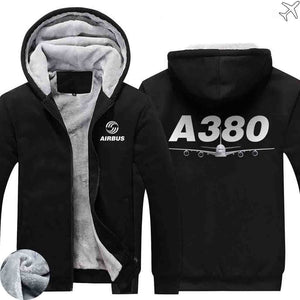AIRZT sweatshirt Black / S Airbus A380 Zipper Sweaters
