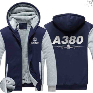 AIRZT sweatshirt Blue / S Airbus A380 Zipper Sweaters