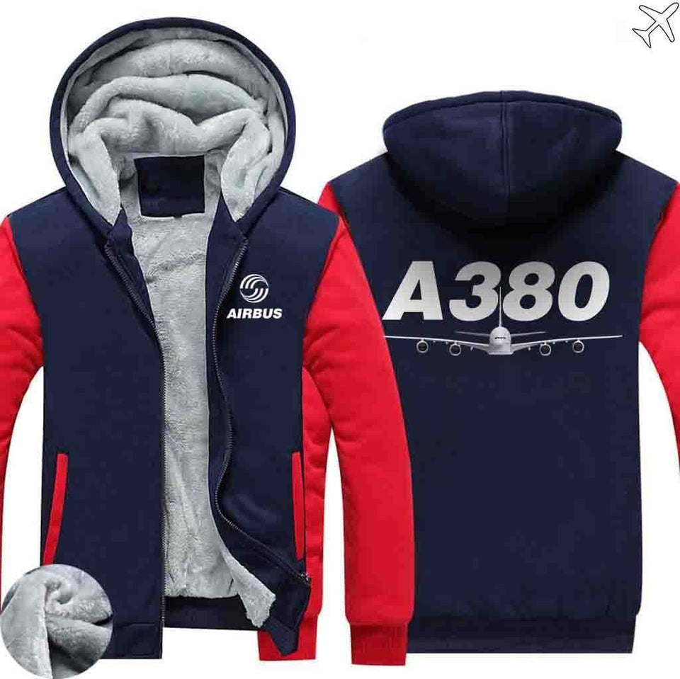 AIRZT sweatshirt Red / S Airbus A380 Zipper Sweaters