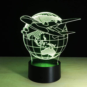 GearNets 3D Lamp Aircraft Globe Earth Light Effect 7 Colors