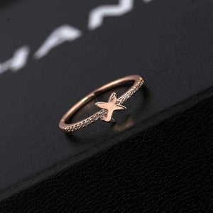 GearNets 5.25 / Rose Gold Color Trendy Cute Aircraft Air Plane Finger Ring