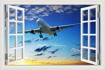 GearNets 14 / 40x60cm 16x24inch Landscape Wallpaper Airplane 3D Wall Sticker