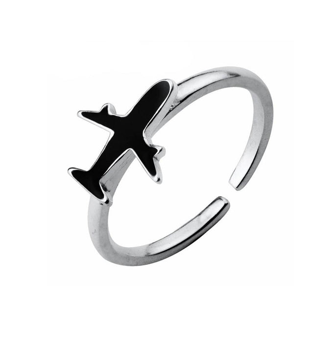 GearNets 925 Sterling Silver Simple Black Color Airplane Ring