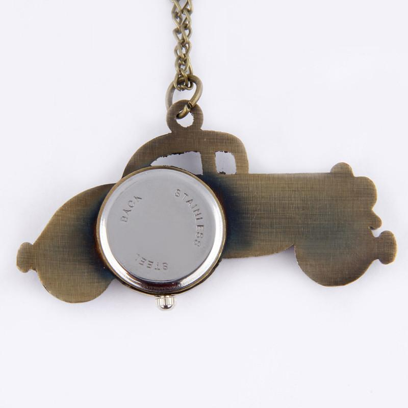GearNets Antique Bronze Classic Cars Design Pendant Pocket Watch Necklace Gift.