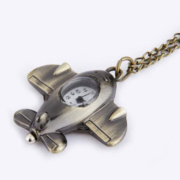 GearNets Antique Bronze Small Aircraft Design Watch Necklace Gift.