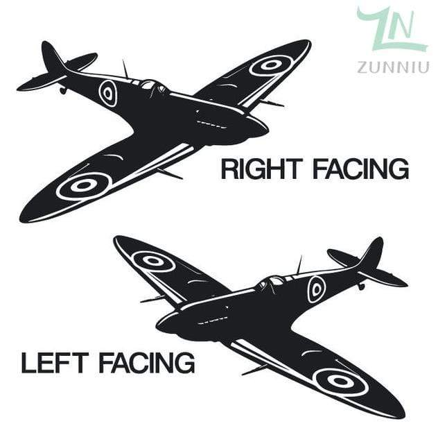 GearNets Black / 88x57cm WALL ART STICKER BRITISH FIGHTER WW2 AIRCRAFT