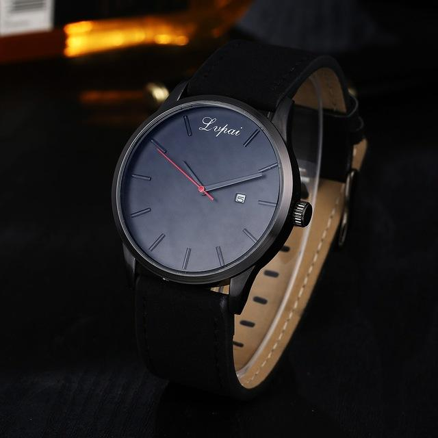GearNets Black Black Luxury Leather Business Quartz Watch
