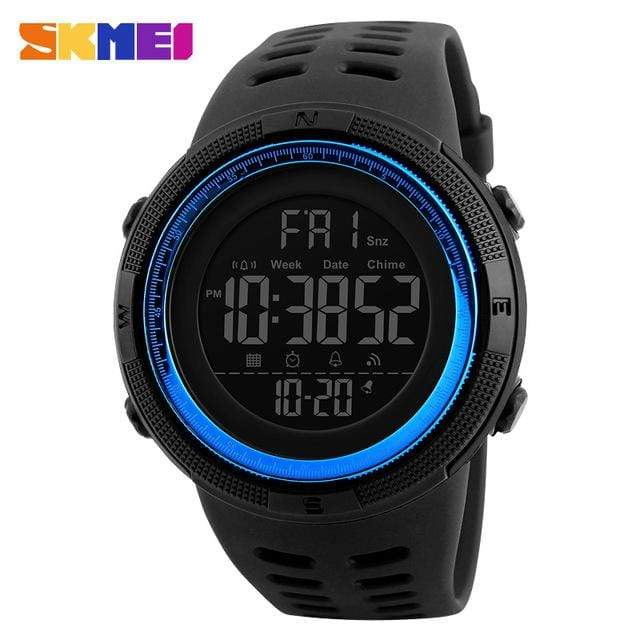 GearNets Black Blue Countdown Double Time Watch