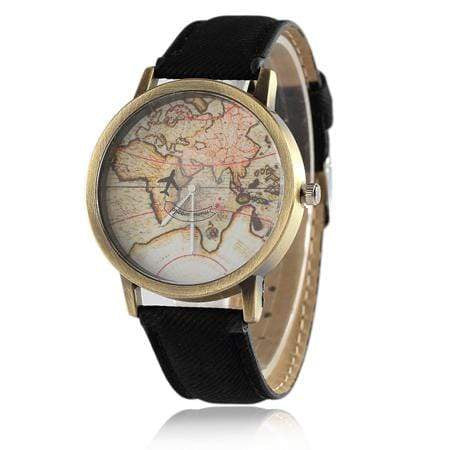 GearNets Black Global Travel By Aircraft Watch for Men and Women