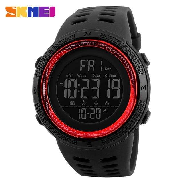 GearNets Black Red Countdown Double Time Watch