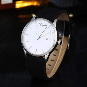 GearNets Black White Luxury Leather Business Quartz Watch
