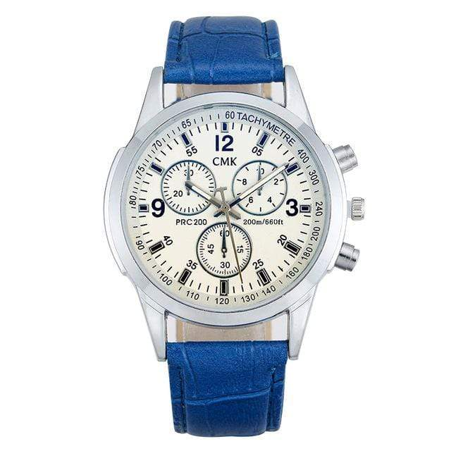 GearNets Blue strap white Casual Luxury Leather strap