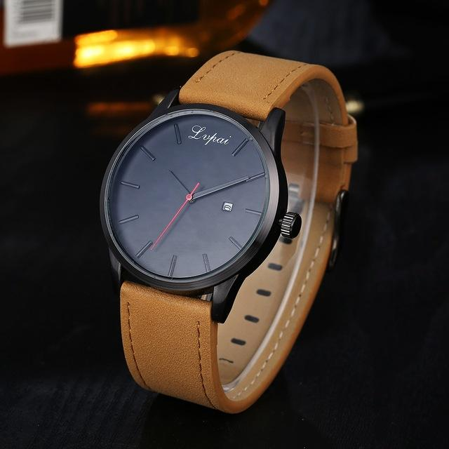 GearNets Brown Black Luxury Leather Business Quartz Watch
