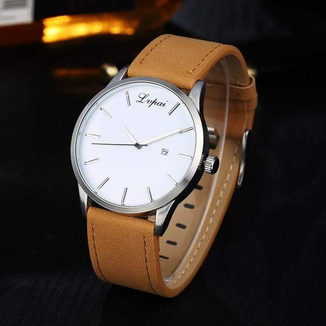 GearNets Brown White Luxury Leather Business Quartz Watch