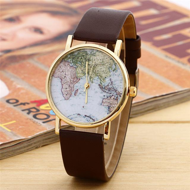 GearNets Brown World Map Watch