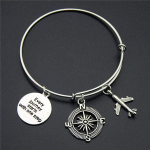 GearNets Compass + Enjoy Journey Traveling The World Bracelet