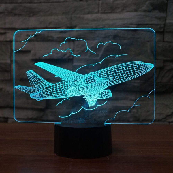 GearNets Creative Airplane 3D Night Light Remote Plane 7 Color lamp