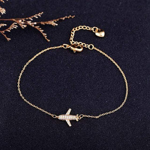GearNets Gold-color Air Plane Charm Bracelet Chain