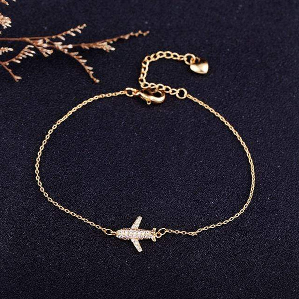 GearNets Platinum Plated Air Plane Charm Bracelet Chain