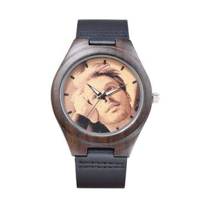 GearNets leather band Customized Photo Wooden Watch