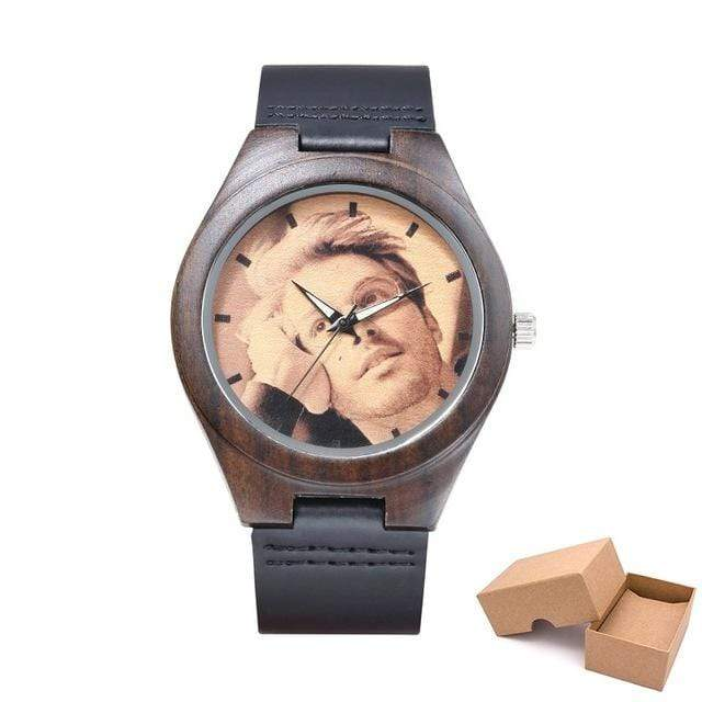 GearNets leather band withbox Customized Photo Wooden Watch