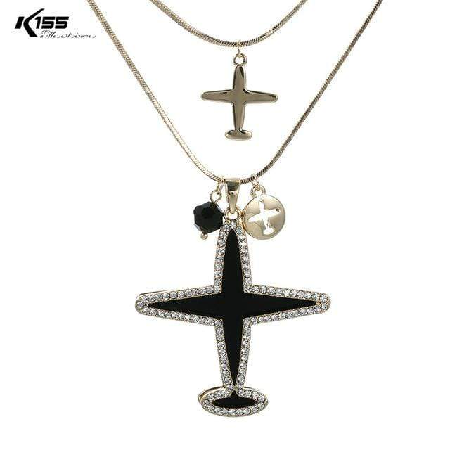 GearNets light gold Airplane Pendant Necklace