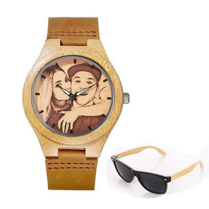 GearNets No.1 sketch print Personality Customized Photo Wood Watch and Sunglasses Gift Set