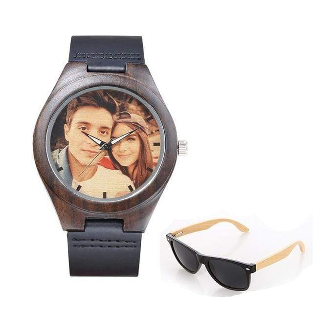 GearNets No.2 color print Personality Customized Photo Wood Watch and Sunglasses Gift Set