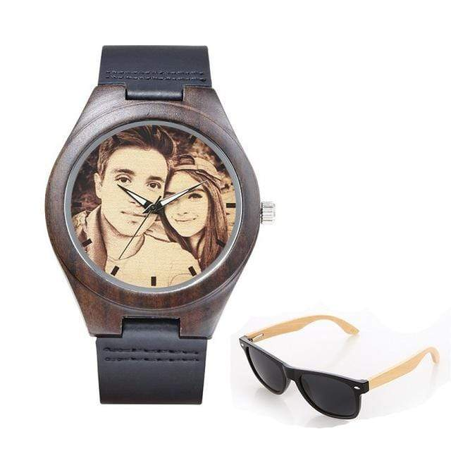 GearNets No.2 sketch print Personality Customized Photo Wood Watch and Sunglasses Gift Set
