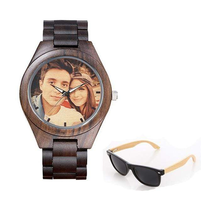 GearNets No.3 color print Personality Customized Photo Wood Watch and Sunglasses Gift Set