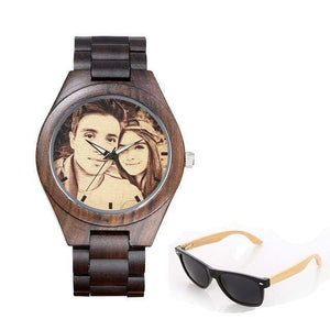 GearNets No.3 sketch print Personality Customized Photo Wood Watch and Sunglasses Gift Set