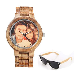 GearNets No.4 color print Personality Customized Photo Wood Watch and Sunglasses Gift Set