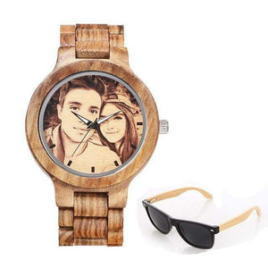 GearNets No.4 sketch print Personality Customized Photo Wood Watch and Sunglasses Gift Set