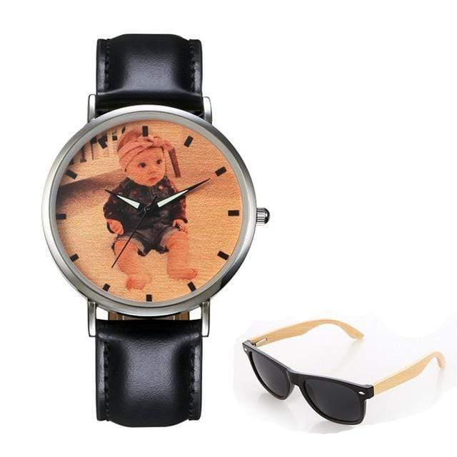 GearNets No.5 color print Personality Customized Photo Wood Watch and Sunglasses Gift Set