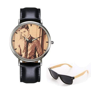 GearNets No.5 sketch print Personality Customized Photo Wood Watch and Sunglasses Gift Set