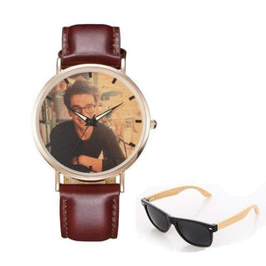 GearNets No.6 color print Personality Customized Photo Wood Watch and Sunglasses Gift Set