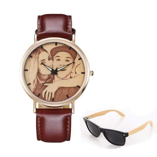 GearNets No.6 sketch print Personality Customized Photo Wood Watch and Sunglasses Gift Set