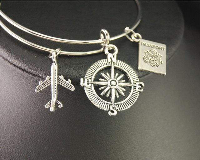 GearNets Passport + Compass Traveling The World Bracelet