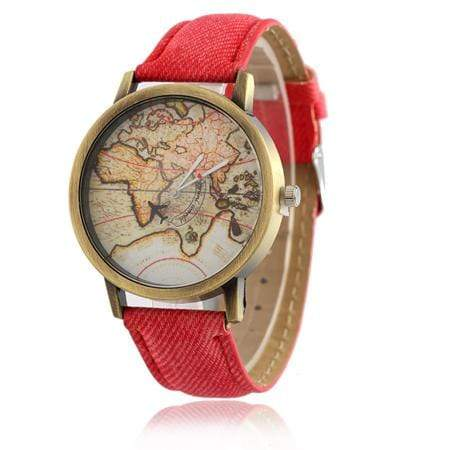 GearNets Red Global Travel By Aircraft Watch for Men and Women