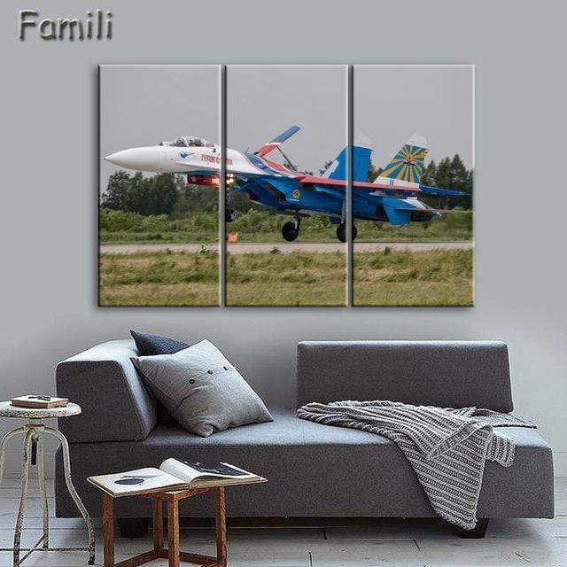 GearNets Size1 30x60cmx3 / Black Fighter Aircraft Wall Picture